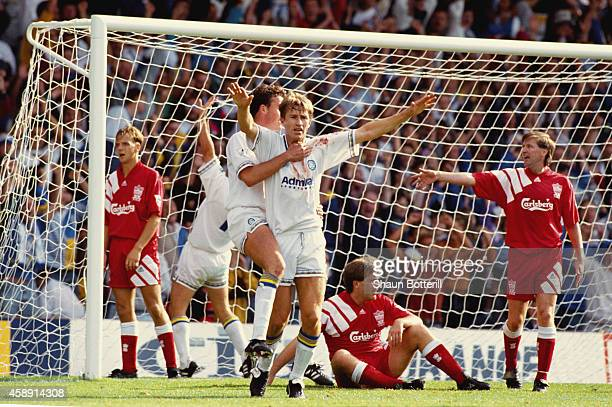 Leeds striker Lee Chapman celebrates his late equaliser during a Premier League match between Leeds United and Liverpool at Elland Road on August 29...