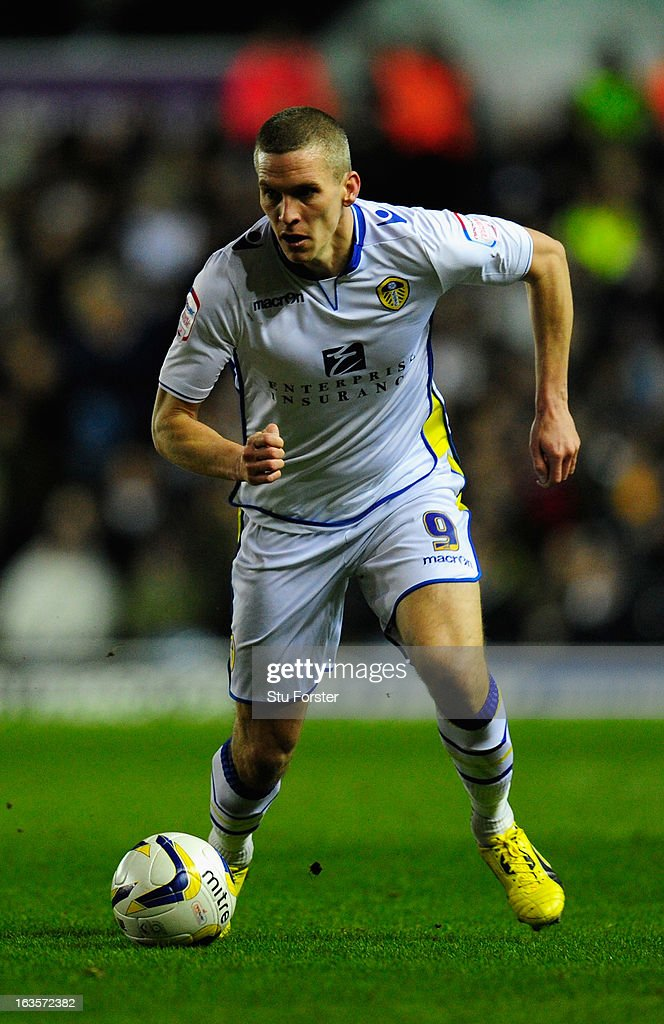 Leeds striker <a gi-track='captionPersonalityLinkClicked' href=/galleries/search?phrase=Steve+Morison+-+Soccer+Player&family=editorial&specificpeople=5483951 ng-click='$event.stopPropagation()'>Steve Morison</a> in action during the npower Championship match between Leeds United and Peterborough United at Elland Road on March 12, 2013 in Leeds, England.