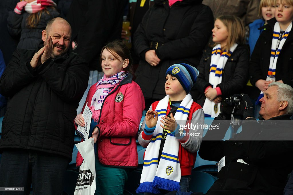 Leeds supporters at Elland Road during the FA Cup with Budweiser Third Round match between Leeds United and Birmingham City at Elland Road Stadium on January 5, 2013 Leeds, England.
