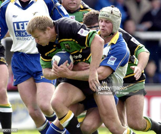 Leeds Tykes James Ponton stops Northamptons Nick Beal during the Rugby Union Zurich Premiership game between Leeds and Northampton at Headingley Leeds