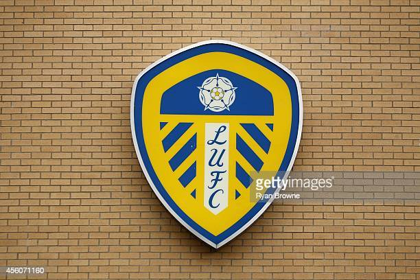 Leeds United badge Sky Bet Championship match between Leeds United and Huddersfield Town at Elland Road Stadium on September 20 2014 in Leeds United...