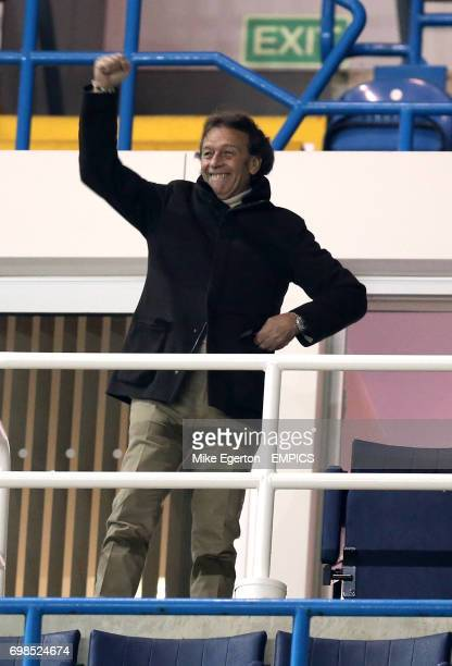 Leeds United banned owner Massimo Cellino celebrates their first goal