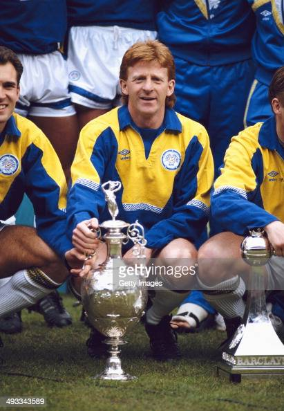 Leeds United captain Gordon Strachan with the Football league Division One trophy for the 1991/92 season at Elland Road on May 2 1992 in Leeds England