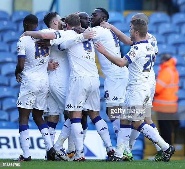 Leeds United celebrate after scoring the opening goal during the Sky Bet Championship League match between Leeds United and Bolton Wanderers at...