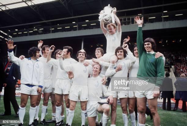 Leeds United celebrate winning the FA Cup Mick Bates Paul Madeley Eddie Gray Paul Reaney Johnny Giles Jack Charlton Allan Clarke Billy Bremner Peter...