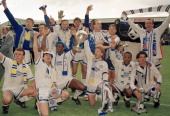 Leeds United celebrate with the trophy after winning the First Division Championship at Elland Road in Leeds 2nd May 1992 Back row Lee Chapman Tony...