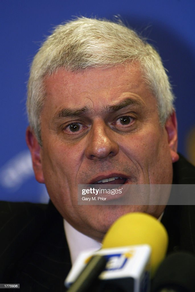 Leeds United chairman Peter Risdale faces the press during a Leeds United press conference on January 31, 2003 at Elland Road in Leeds, England.