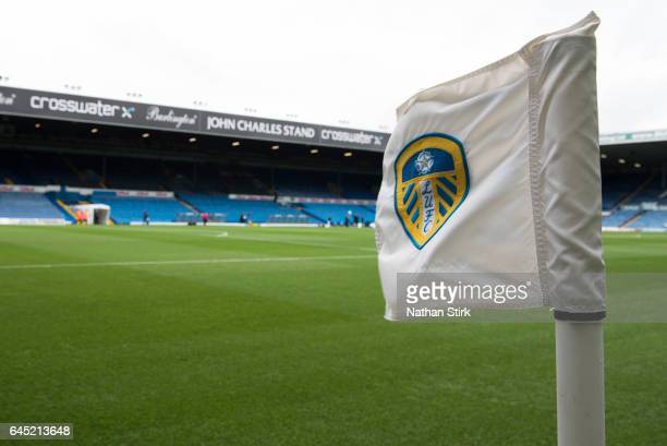 Leeds United corner flag before the Sky Bet Championship match between Leeds United and Sheffield Wednesday at Elland Road on February 25 2017 in...