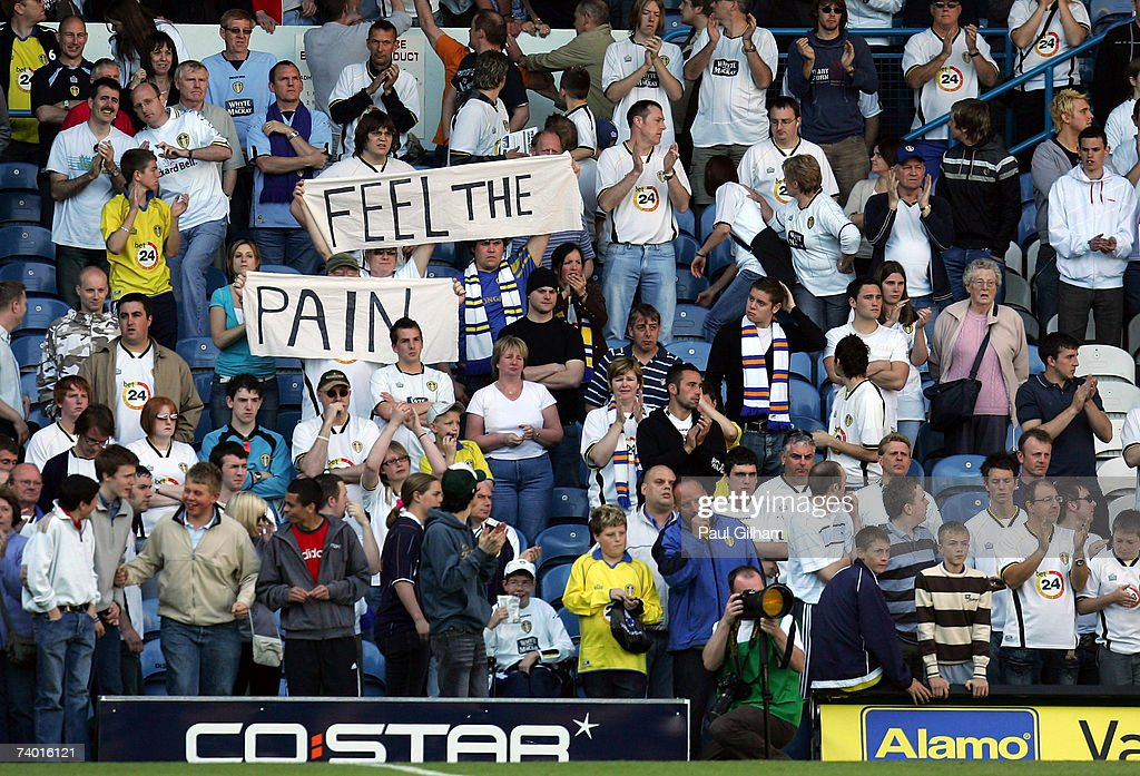 Leeds United fans show a banner to the players at the end of the CocaCola Championship match between Leeds United and Ipswich Town at Elland Road on...