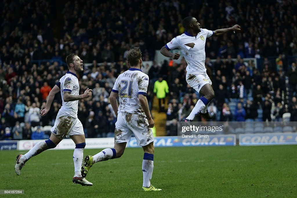 Leeds United FC celebrate after Mustafa Carayol of Leeds United FC scores the opening goal during The Emirates FA Cup Third Round match between Leeds United and Rotherham United at Elland Road on January 9, 2016 in Leeds, England.