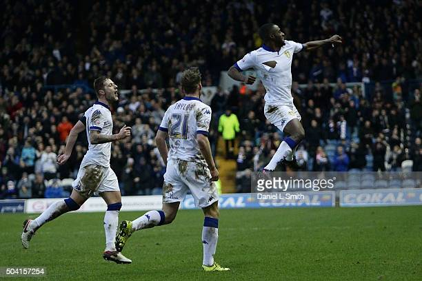 Leeds United FC celebrate after Mustafa Carayol of Leeds United FC scores the opening goal during The Emirates FA Cup Third Round match between Leeds...