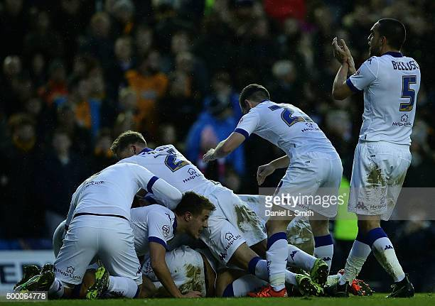 Leeds United FC celebrate after Tom Adeyemi scores a goal during the Sky Bet Championship League match between Leeds United FC and Hull City FC on...