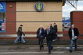 Leeds United FC fans arrive at Elland Road prior to The Emirates FA Cup Third Round match between Leeds United and Rotherham United at Elland Road on...