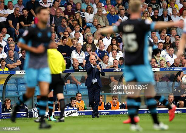 Leeds United FC head coach Uwe Rosler commincates to players on the field during the Sky Bet Championship match between Leeds United and Sheffield...