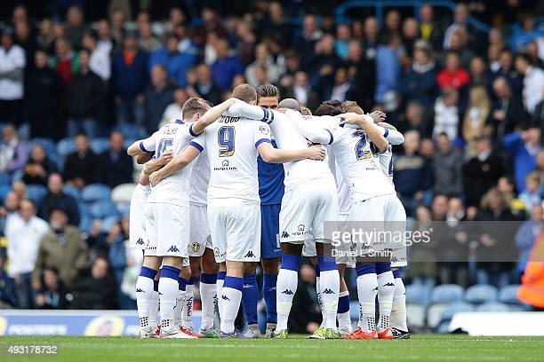 Leeds United FC huddle prior to the Sky Bet Championship match between Leeds United and Brighton Hove Albion at Elland Road on October 17 2015 in...