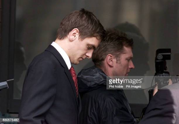 Leeds United footballer Johnathan Woodgate leaves Hull Crown Court after the case against them was halted and the jury discharged by the judge The...