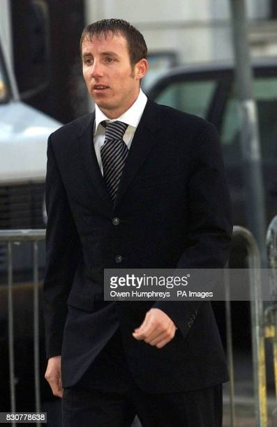 Leeds United footballer Lee Bowyer arrives at Hull Crown Court where he is accused along Jonathan Woodgate and Paul Clifford and Neale Caveney of...