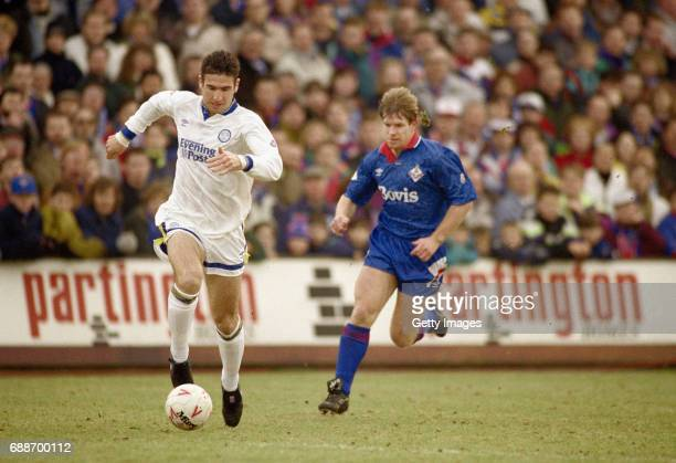 Leeds United forward Eric Cantona in action during his Leeds debut during the League Division One match between Oldham Athletic and Leeds United at...