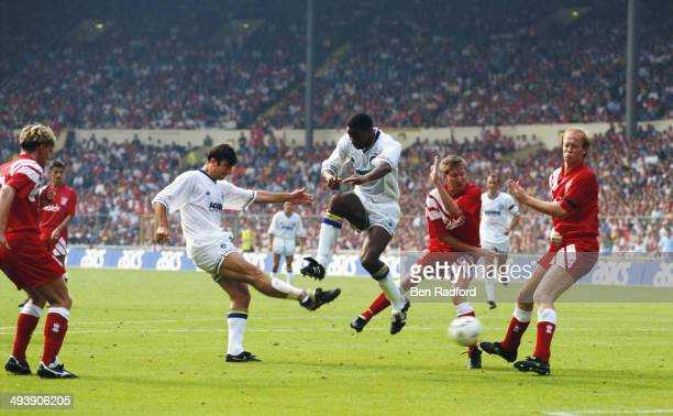 Leeds United forward Eric Cantona shoots to score during the FA Charity Shield between Leeds United and Liverpool at Wembley Stadium on August 8 1992...