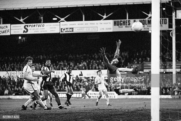 Leeds United goalkeeper David Harvey is unable to stop Laurie Cunningham scoring West Bromwich Albion's 1st goal in their FA Cup 4th Round match at...