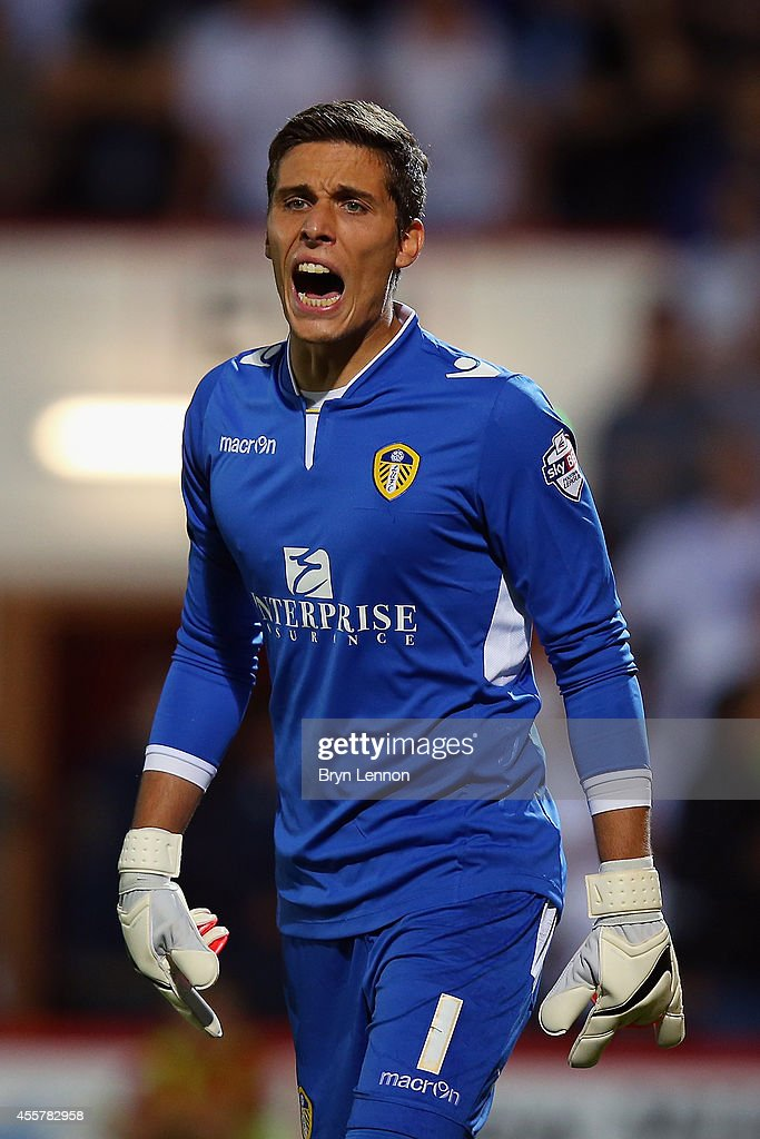 Leeds United Goalkeeper Marco Silvestri instructs his team during the Sky Bet Championship match between AFC Bournemouth and Leeds United at Goldsands Stadium on September 16, 2014 in Bournemouth, England.