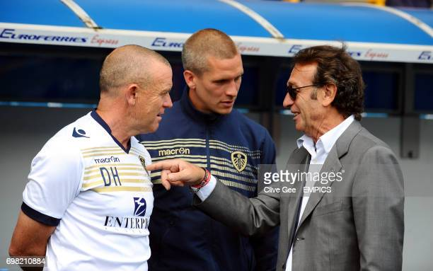 Leeds United Head Coach Dave Hockaday chats with Leeds United owner Massimo Cellino before the Sky Bet Championship match at the New Den London
