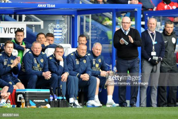 Leeds United manager Brian McDermott during the Sky Bet Championship match at Loftus Road London