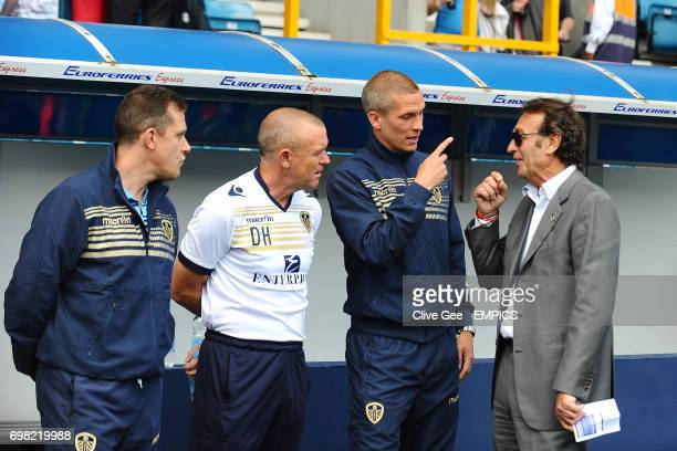 Leeds United manager Dave Hockaday Steve Morison talk to owner Massimo Cellino
