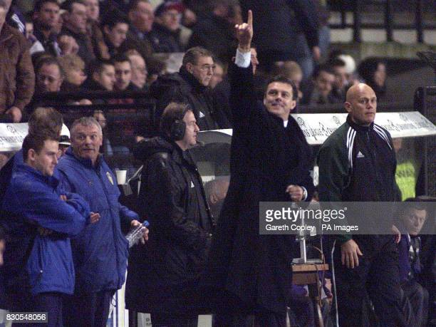 LEAGUE Leeds United manager David O'Leary celebrates the 41 victory over Anderlecht in the UEFA Champions League match at the Stade Constant Vanden...