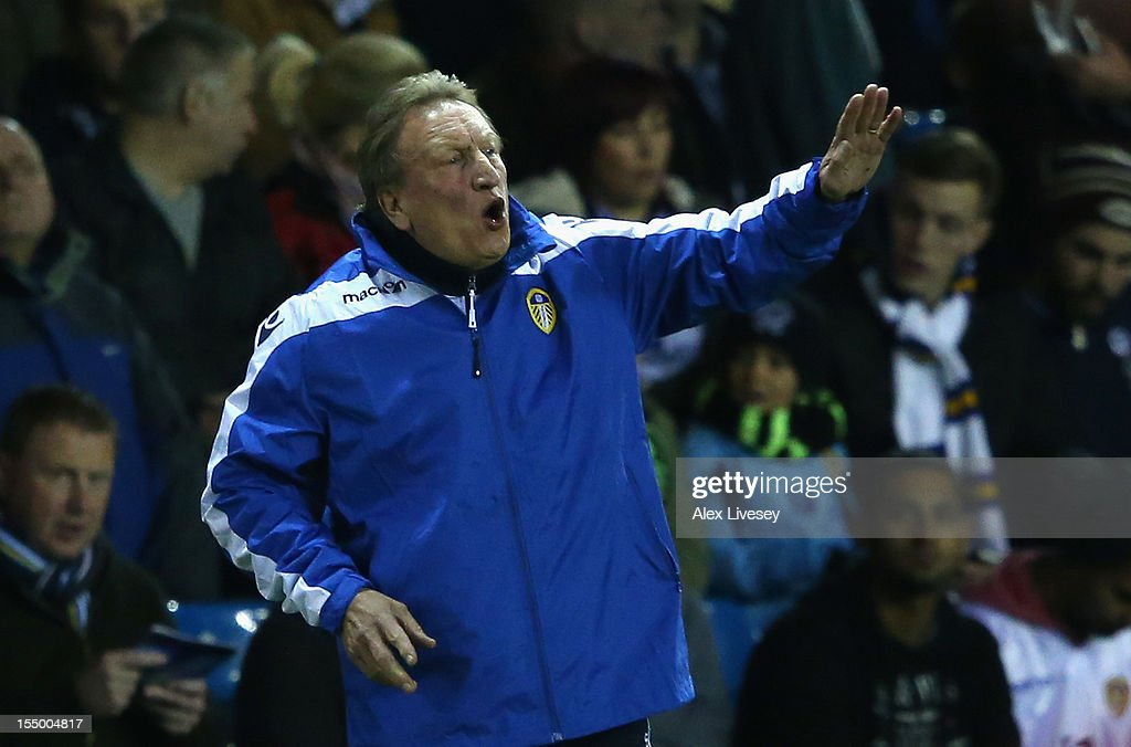 Leeds United Manager <a gi-track='captionPersonalityLinkClicked' href=/galleries/search?phrase=Neil+Warnock&family=editorial&specificpeople=644786 ng-click='$event.stopPropagation()'>Neil Warnock</a> gestures during the Capital One Cup Fourth Round match between Leeds United and Southampton at Elland Road on October 30, 2012 in Leeds, England.