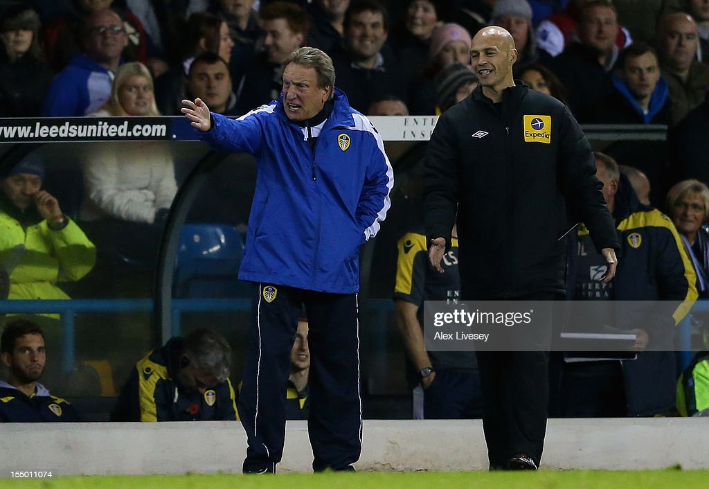 Leeds United Manager <a gi-track='captionPersonalityLinkClicked' href=/galleries/search?phrase=Neil+Warnock&family=editorial&specificpeople=644786 ng-click='$event.stopPropagation()'>Neil Warnock</a> reacts during the Capital One Cup Fourth Round match between Leeds United and Southampton at Elland Road on October 30, 2012 in Leeds, England.