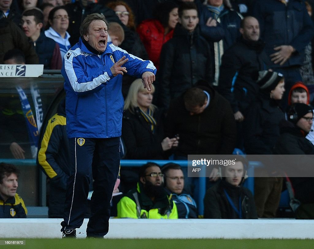 "Leeds United manager Neil Warnock reacts during the FA Cup football match between Leeds United and Tottenham Hotspur at Elland road stadium in Leeds, northern England on January 27, 2013. Leeds won 2-1. AFP PHOTO/ANDREW YATES. RESTRICTED TO EDITORIAL USE. No use with unauthorized audio, video, data, fixture lists, club/league logos or ""live"" services. Online in-match use limited to 45 images, no video emulation. No use in betting, games or single club/league/player publications."