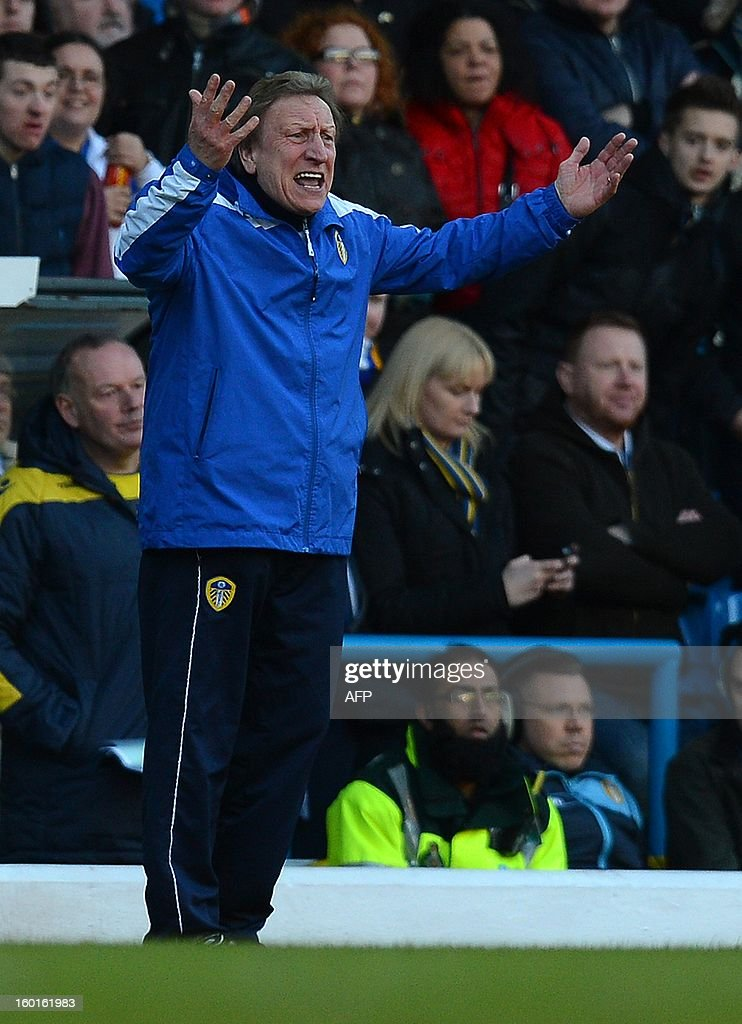 """Leeds United manager Neil Warnock reacts during the FA Cup football match between Leeds United and Tottenham Hotspur at Elland road stadium in Leeds, northern England on January 27, 2013. Leeds won 2-1. AFP PHOTO/ANDREW YATES. RESTRICTED TO EDITORIAL USE. No use with unauthorized audio, video, data, fixture lists, club/league logos or """"live"""" services. Online in-match use limited to 45 images, no video emulation. No use in betting, games or single club/league/player publications."""