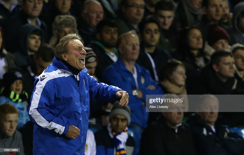 Leeds United Manager <a gi-track='captionPersonalityLinkClicked' href=/galleries/search?phrase=Neil+Warnock&family=editorial&specificpeople=644786 ng-click='$event.stopPropagation()'>Neil Warnock</a> shouts instructions during the Capital One Cup Fourth Round match between Leeds United and Southampton at Elland Road on October 30, 2012 in Leeds, England.