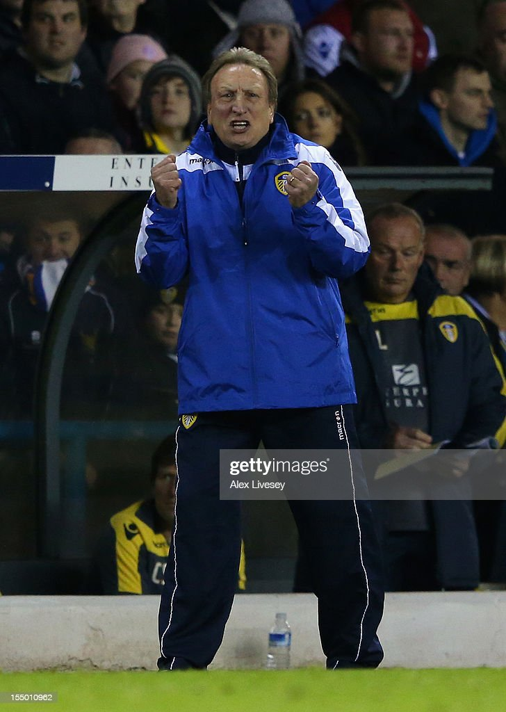 Leeds United Manager Neil Warnock shouts instructions during the Capital One Cup Fourth Round match between Leeds United and Southampton at Elland Road on October 30, 2012 in Leeds, England.