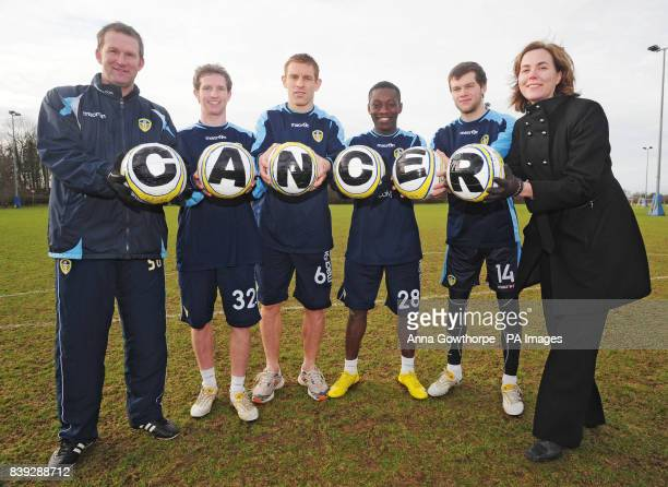 Leeds United manager Simon Grayson players Aidy White Richard Naylor Max Gradel and Jonny Howson together with Clair Chadwick of Yorkshire Cancer...