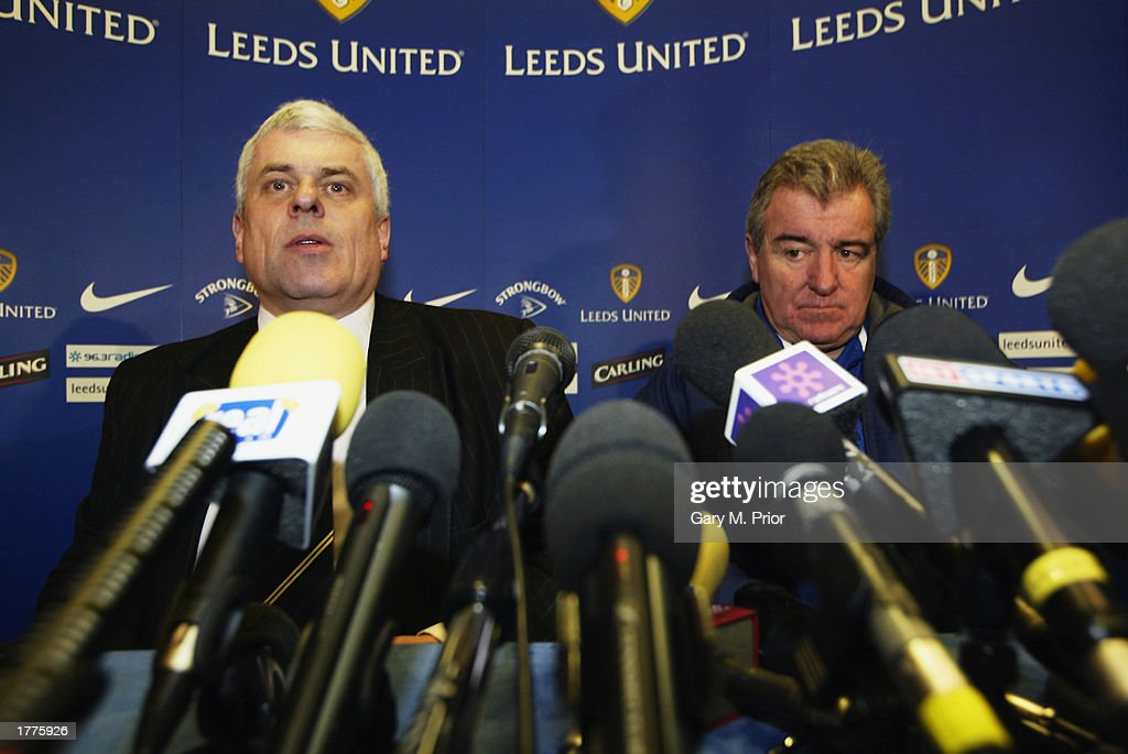 Leeds United manager Terry Venables and Leeds United chairman Peter Ridsdale face the press during a Leeds United press conference on January 31, 2003 at Elland Road in Leeds, England.