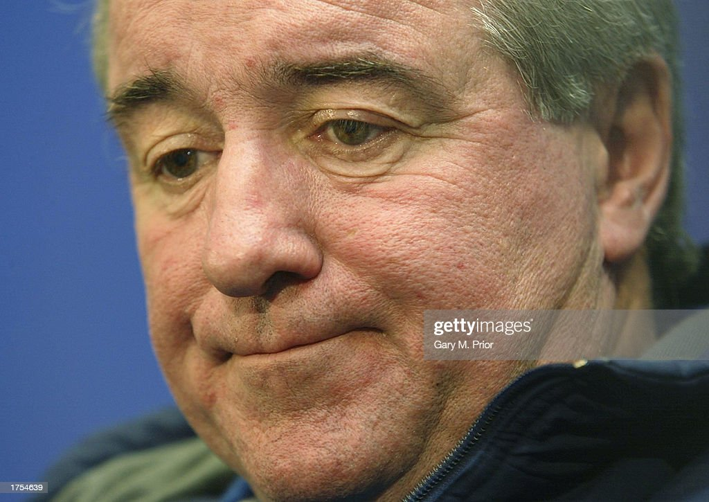 Leeds United manager Terry Venables talks to the media during a press conference at Elland Road on January 31, 2003 in Leeds, Great Britain.