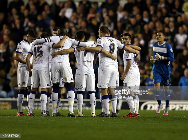 Leeds United players huddle ahead of the Sky Bet Championship match between Leeds United and Blackburn Rovers on October 29 2015 in Leeds United...