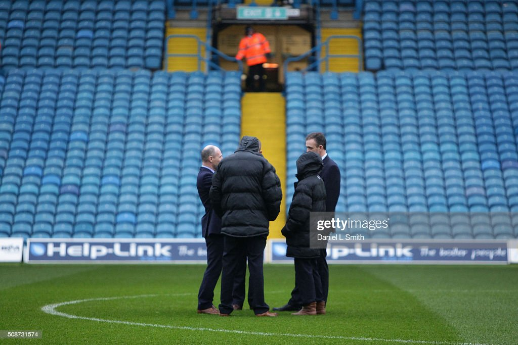 Leeds United stewards in discussion on the pitch prior to kick off in the Sky Bet Championship match between Leeds United and Nottingham Forest on February 6, 2016 in Leeds, United Kingdom.