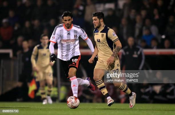 Leeds United's Alex Mowatt and Fulham's Bryan Ruiz