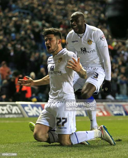Leeds United's Alex Mowatt celebrates scoring his sides first goal of the game against Ipswich Town with Sol Bamba