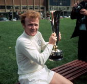 Leeds United's Billy Bremner holds up the Fairs' Cup which his team won after beating Juventus over two legs Bremner was a key midfielder in Don...