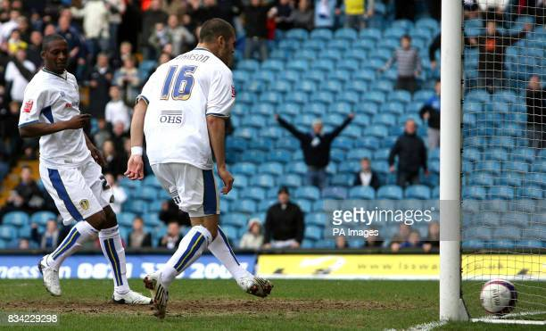Leeds United's Bradley Johnson walks in Leeds first goal during the CocaCola League One match at Elland Road Leeds