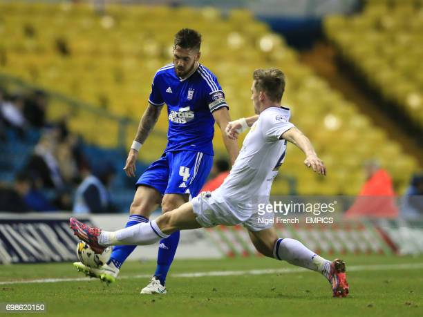 Leeds United's Charlie Taylor and Ipswich Town's Luke Chambers battle for the ball