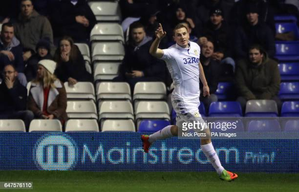 Leeds United's Chris Wood celebrates scoring his side's first goal of the game during the Sky Bet Championship match at St Andrews Birmingham
