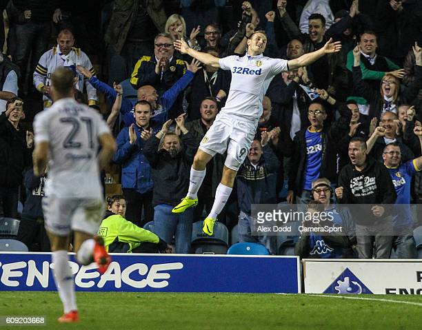 Leeds United's Chris Wood celebrates scoring his side's winning goal during the EFL Cup Third round match between Leeds United and Blackburn Rovers...