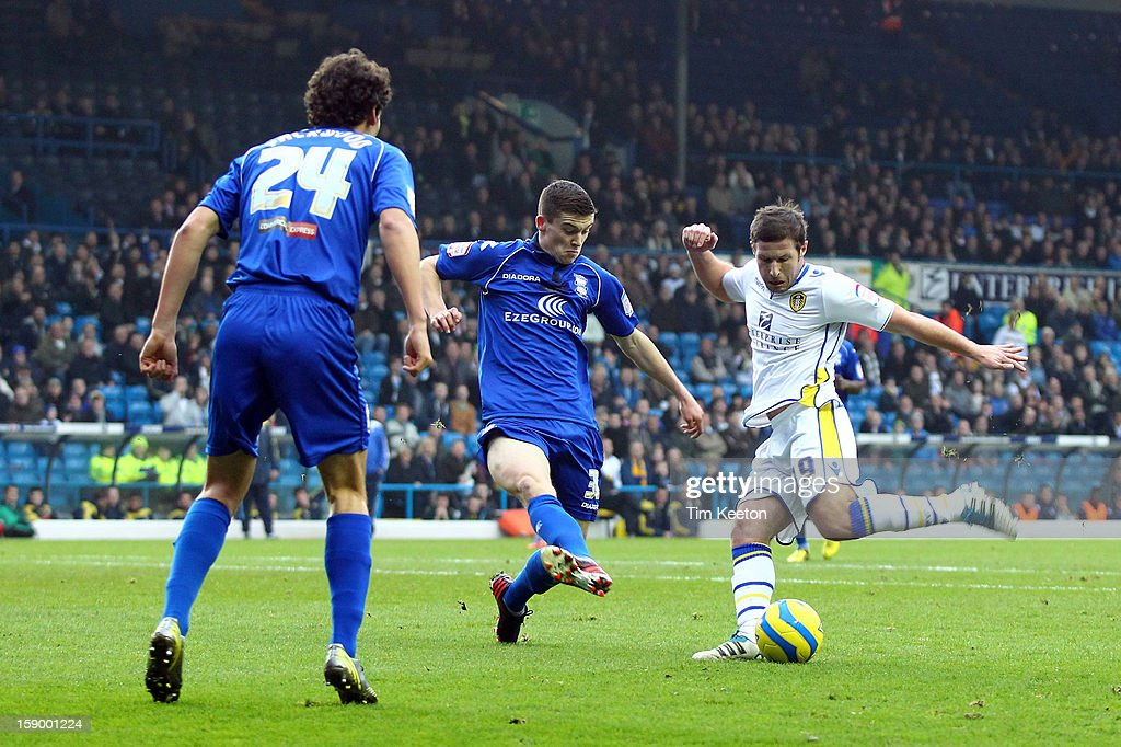 Leeds United's David Norris and Birmingham City's David Murphy in action during the FA Cup with Budweiser Third Round match between Leeds United and Birmingham City at Elland Road Stadium on January 5, 2013 Leeds, England.