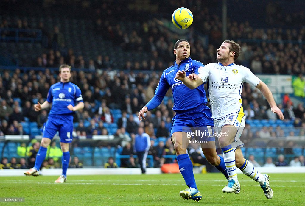 Leeds United's David Norris goes past Birmingham City's Curtis Davies during the FA Cup with Budweiser Third Round match between Leeds United and Birmingham City at Elland Road Stadium on January 5, 2013 Leeds, England.