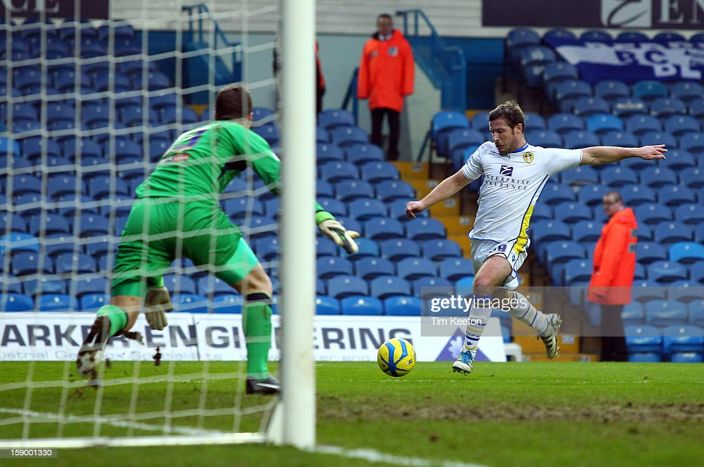 Leeds United's <a gi-track='captionPersonalityLinkClicked' href=/galleries/search?phrase=David+Norris+-+Soccer+Player&family=editorial&specificpeople=5599377 ng-click='$event.stopPropagation()'>David Norris</a> shoots only to have it saved by Birmingham City's Colin Doyle during the FA Cup with Budweiser Third Round match between Leeds United and Birmingham City at Elland Road Stadium on January 5, 2013 Leeds, England.